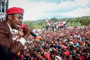 Robert Kyagulanyi, also known as the popstar Bobi Wine, speaks during a rally in Hoima in the west of Uganda.Photo: OPA Images/SIPA USA/PA Images