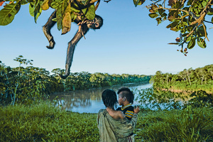 Machiguenga children at play in Manu's spectacular wilderness, while their pet spider monkey explores a tree.Photo: Charlie James/National Geographic/Alamy