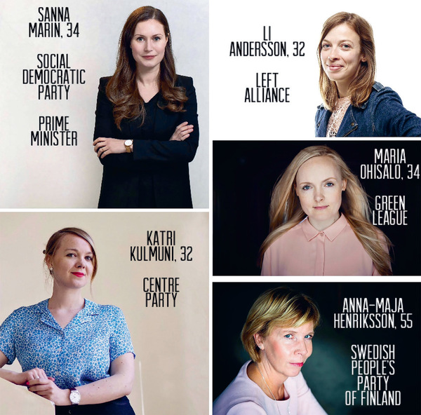 The leaders of Finland's five coalition parties in power in December 2019. This image was widely circulated in a tweet that 'went viral' upon Sanna Marin becoming Prime Minister on 10 December 2019. People around the world immediately commented on all five being women and four being in their early thirties. Four remain in these positions but Katri Kulmuni resigned as Deputy Prime Minister in June 2020 and as Centre Party leader in September (replaced in the latter role by Annika Saarikko who is also female and in her thirties).