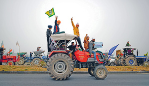 No farmers, no food: tractors rally on the outskirts of New Delhi in January.Photo: Annan Abidi/Reuters/Alamy