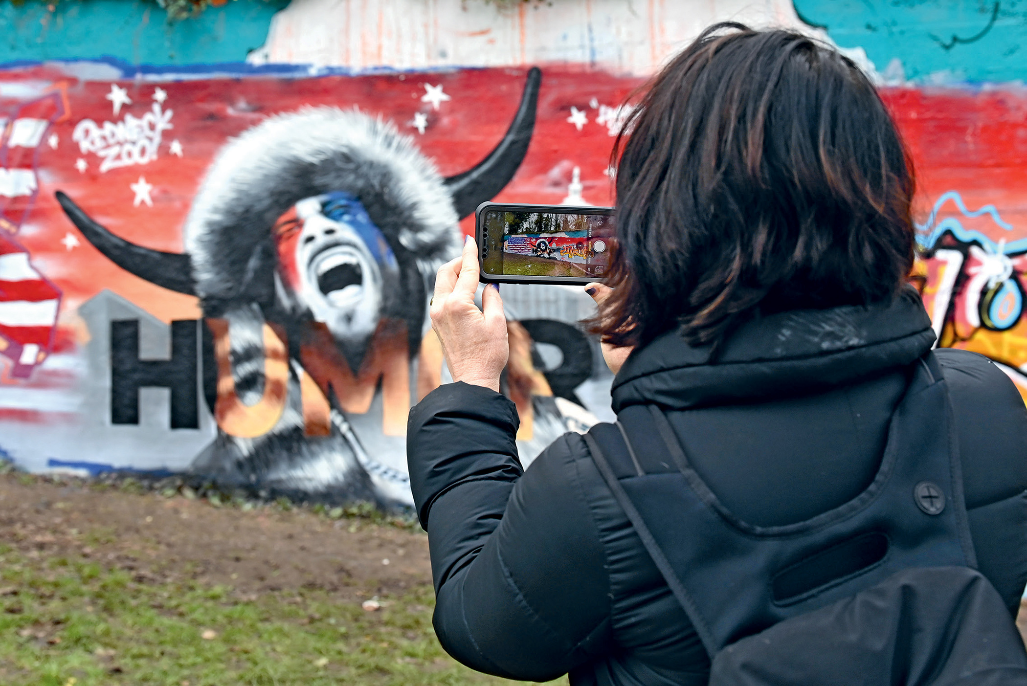 A mural featuring a pro-Trump protester, self-styled QAnon 'shaman' Jacob Chansley, appeared in Tunbridge Wells, UK, a few days after the storming of the US Congress in Washington on 6 January. Photo: Karwai Tang/Wireimage/Getty