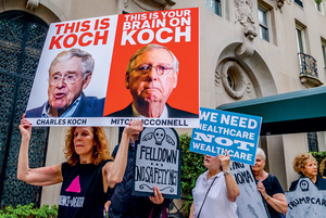 Opposite page: Activists in New York City protest against the influence of 'dark money' from the billionaire Koch brothers on many areas of political decision-making, including healthcare.Photo: Erik McGregor/Sipa USA/PA Images