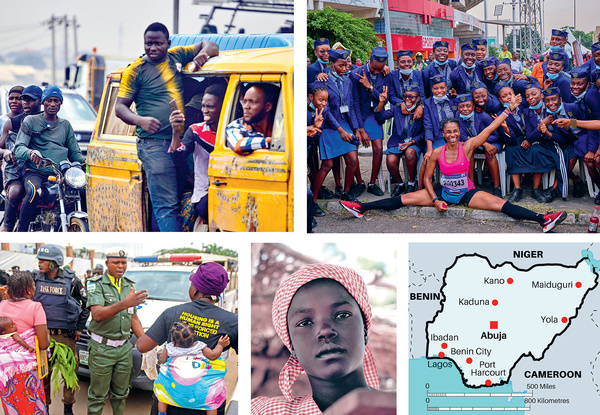 (clockwise from top left): Rubberneckers view the damaged vehicles following the crash of a fuel tanker on the Kara Bridge in Lagos; a runner poses with students during the Lagos Women Run; 10-year-old Ruth Bitrus, whose parents were killed by Boko Haram following the invasion of her hometown, Michika; women from waterfront communities under threat of eviction for property development confront Lagos police. Photos: Majority World: Adeyinka Yusuf; Adeyinka Yusuf; Immanuel Ofolabi; Osakpolor Omoregie.