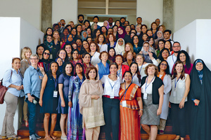 Sanam Naraghi-Anderlini (bottom, centre, in white top) with women peace-makers from conflict zones from around the world at ICAN's 2018 Annual Forum in Sri LankaPhoto: ICAN