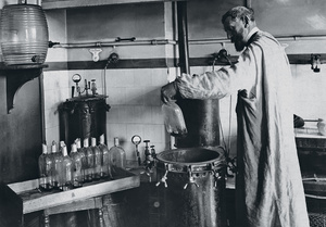 French biochemist Louise Pasteur in his laboratory, where he developed pioneering vaccines against chicken cholera and rabies using 'attenuated' or weakened bacteria.Photo: GL Archive/Alamy