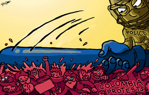 Colombia Protests.Illustration: Zach