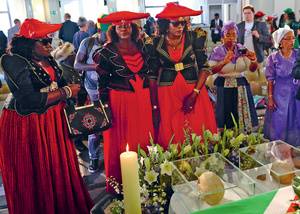 Forgotten genocide: a delegation from Namibia gathers in Berlin to mourn the victims of the 1904-1908 genocide during a ceremony to hand over human remains used for the purposes of eugenics and colonial race science.Photo: Christian Mang/Reuters/Alamy