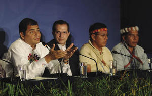 President Correa passionately promoted the Yasuní initiative at the Cancún climate summit last December; but doubts remain about his commitment.Miguel Romero / Presidencia de la República del Ecuador