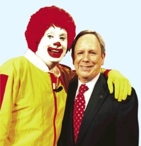 McDonalds promote a 'new healthy diet and exercise campaign'. There's big bucks in obesity for PR firms lobbying to water down regulations on junk food advertising to children.Jeff Christensen / Reuters