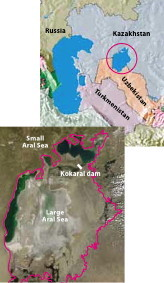 The map indicates the location and original extent of the Aral Sea (circled). The satellite image immediately below shows what remains in 2010.