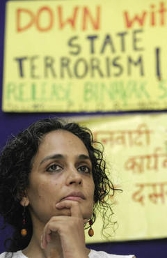 Arundhati Roy appears at a press conference in support of civil libertiesGurinder Osan /AP/Press Association Images