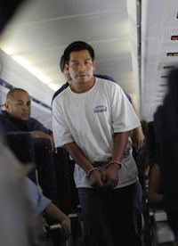 Land of the free? Juan Sacaria Lopez – here boarding a deportation flight from Arizona – is just one of 4,200 unauthorized migrants removed each week from the US. Carlos Barria / Reuters
