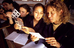Young Tunisian women studying photography at technical college.Photo by Giacomo Pirozzi / Panos