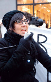 Speaking out:  Eriel Tchekwie Deranger at a protest outside the Canadian Embassy in Copenhagen during December's  climate summit.
