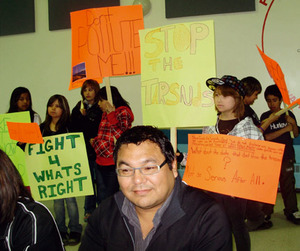School's out: George Poitras looks on as children in Fort Chipewyan school protest when tar sands operator Syncrude comes to their town.Photo by Daygot Leeyos
