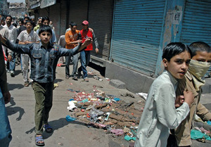 Kings of the road: children join a protest in Maisuma, Srinagar.